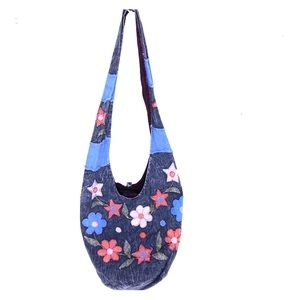 Floral flowers patchwork denim hobo hippie purse